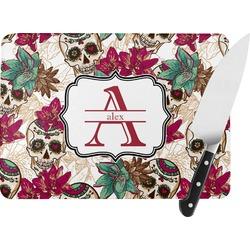 Sugar Skulls & Flowers Rectangular Glass Cutting Board (Personalized)
