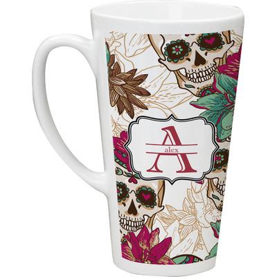 Sugar Skulls & Flowers Latte Mug (Personalized)