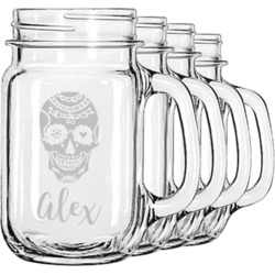 Sugar Skulls & Flowers Mason Jar Mugs (Set of 4) (Personalized)