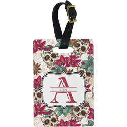Sugar Skulls & Flowers Rectangular Luggage Tag (Personalized)