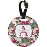 Sugar Skulls & Flowers Round Luggage Tag (Personalized)