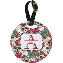 Sugar Skulls & Flowers Round Luggage Tag (Personalized)