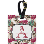 Sugar Skulls & Flowers Square Luggage Tag (Personalized)