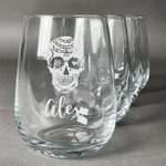 Sugar Skulls & Flowers Stemless Wine Glasses (Set of 4) (Personalized)