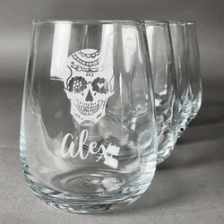 Sugar Skulls & Flowers Wine Glasses (Stemless- Set of 4) (Personalized)
