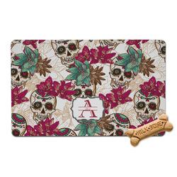 Sugar Skulls & Flowers Pet Bowl Mat (Personalized)