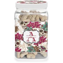 Sugar Skulls & Flowers Pet Treat Jar (Personalized)