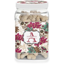 Sugar Skulls & Flowers Pet Treat Jar (Personalized)
