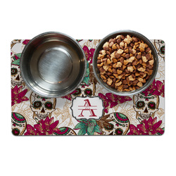 Sugar Skulls & Flowers Pet Bowl Mat (Personalized)