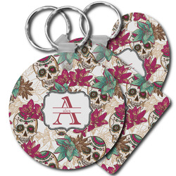 Sugar Skulls & Flowers Plastic Keychains (Personalized)