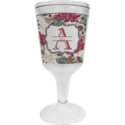 Sugar Skulls & Flowers Wine Tumbler - 11 oz Plastic (Personalized)