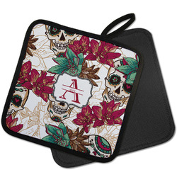 Sugar Skulls & Flowers Pot Holder w/ Name and Initial
