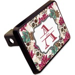 """Sugar Skulls & Flowers Rectangular Trailer Hitch Cover - 2"""" (Personalized)"""
