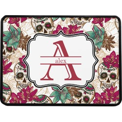 """Sugar Skulls & Flowers Rectangular Trailer Hitch Cover - 1.25"""" (Personalized)"""