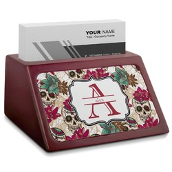 Sugar Skulls & Flowers Red Mahogany Business Card Holder (Personalized)