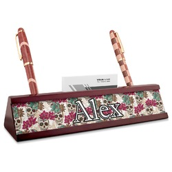 Sugar Skulls & Flowers Red Mahogany Nameplate with Business Card Holder (Personalized)