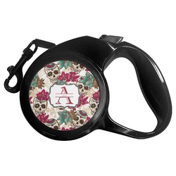 Sugar Skulls & Flowers Retractable Dog Leash - Multiple Sizes (Personalized)