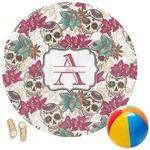 Sugar Skulls & Flowers Round Beach Towel (Personalized)