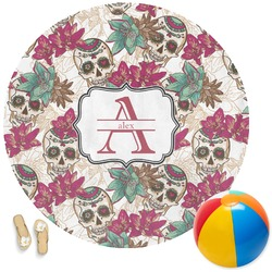 Sugar Skulls & Flowers Round Beach Towel (Personalized)
