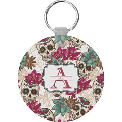 Sugar Skulls & Flowers Round Keychain (Personalized)