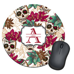 Sugar Skulls & Flowers Round Mouse Pad (Personalized)