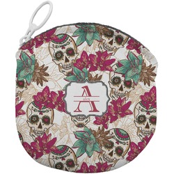 Sugar Skulls & Flowers Round Coin Purse (Personalized)