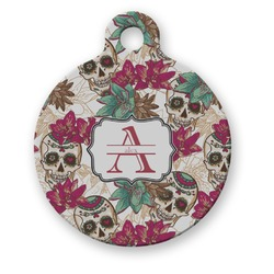 Sugar Skulls & Flowers Round Pet Tag (Personalized)