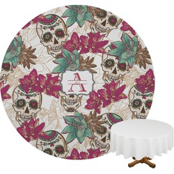 Sugar Skulls & Flowers Round Tablecloth (Personalized)