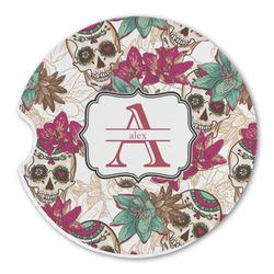 Sugar Skulls & Flowers Sandstone Car Coasters (Personalized)