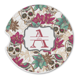 Sugar Skulls & Flowers Sandstone Car Coaster - Single (Personalized)