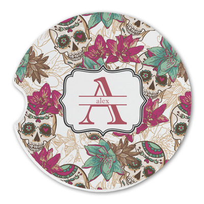 Sugar Skulls & Flowers Sandstone Car Coasters (Personalized)