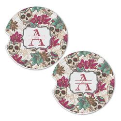 Sugar Skulls & Flowers Sandstone Car Coasters - Set of 2 (Personalized)