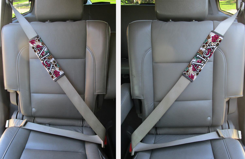 Fine Sugar Skulls Flowers Seat Belt Covers Set Of 2 Personalized Evergreenethics Interior Chair Design Evergreenethicsorg