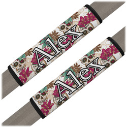 Sugar Skulls & Flowers Seat Belt Covers (Set of 2) (Personalized)