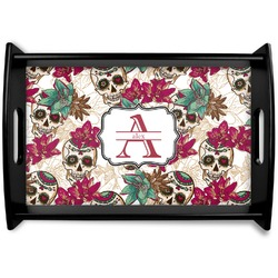 Sugar Skulls & Flowers Black Wooden Tray (Personalized)