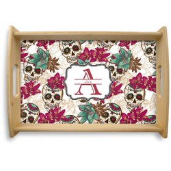 Sugar Skulls & Flowers Natural Wooden Tray (Personalized)