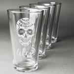 Sugar Skulls & Flowers Beer Glasses (Set of 4) (Personalized)