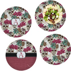 """Sugar Skulls & Flowers Set of 4 Glass Lunch / Dinner Plate 10"""" (Personalized)"""