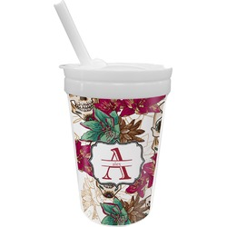 Sugar Skulls & Flowers Sippy Cup with Straw (Personalized)