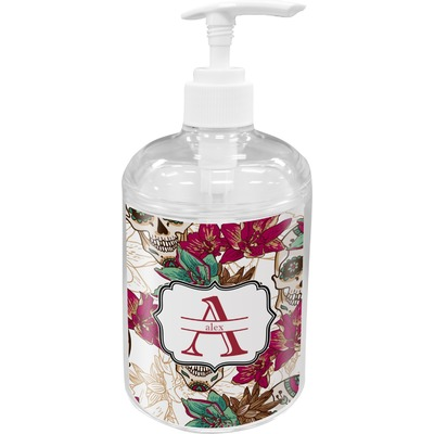 Sugar Skulls & Flowers Acrylic Soap & Lotion Bottle (Personalized)