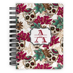 Sugar Skulls & Flowers Spiral Bound Notebook - 5x7 (Personalized)