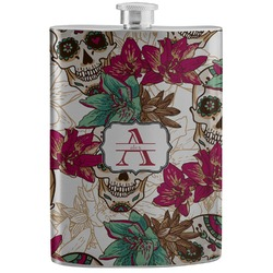Sugar Skulls & Flowers Stainless Steel Flask (Personalized)