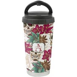 Sugar Skulls & Flowers Stainless Steel Travel Mug (Personalized)