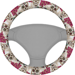 Sugar Skulls & Flowers Steering Wheel Cover (Personalized)