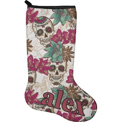 Sugar Skulls & Flowers Holiday Stocking - Neoprene (Personalized)