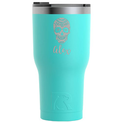 Sugar Skulls & Flowers RTIC Tumbler - Teal - Engraved Front (Personalized)