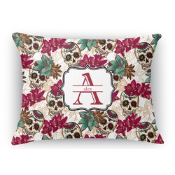 Sugar Skulls & Flowers Rectangular Throw Pillow Case (Personalized)
