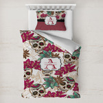 Sugar Skulls & Flowers Toddler Bedding w/ Name and Initial