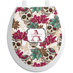Sugar Skulls & Flowers Toilet Seat Decal (Personalized)