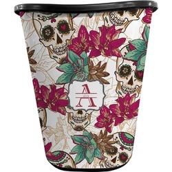 Sugar Skulls & Flowers Waste Basket - Double Sided (Black) (Personalized)
